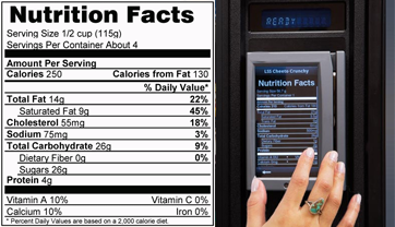 Snack Vending Machine Nutritional Info